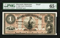 Obsoletes By State:Wisconsin, Sheboygan, WI- Bank of Sheboygan $1 18__ G2a Krause G2a Proof PMG Gem Uncirculated 65 EPQ.. ...