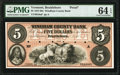 Brattleboro, VT- Windham County Bank $5 Mar. __, 18__ as G8a as Coulter 51 Proof PMG Choice Uncirculated 64 EPQ.<...