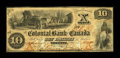 Canadian Currency: , Toronto, ON- Colonial Bank of Canada $10 April 4, 1859 Ch.130-10-02-12. ...