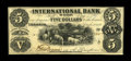 Canadian Currency: , Toronto, ON- International Bank $5 Sept. 15, 1858 Ch. 380-10-02-08....