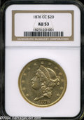 Liberty Double Eagles: , 1876-CC AU53 NGC. ...