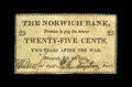 Obsoletes By State:Connecticut, Norwich, CT- Norwich Bank 25¢ Feb. 25, 1815 G92. ...