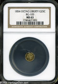 California Fractional Gold: , 1854 Liberty Octagonal 25 Cents, BG-105, R.3, MS63 NGC. ...