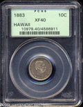 Coins of Hawaii: , 1883 Hawaii Ten Cents XF40 PCGS. ...