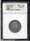 Coins of Hawaii: , 1883 Hawaii Quarter Fine12--Scratched, Cleaned--ANACS VF ...