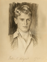 John Singer Sargent (American, 1856-1925) Portrait of Henry Sturgis Russell, 1924 Charcoal on paper