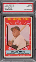 Baseball Cards:Singles (1950-1959), 1959 Topps Willie Mays (All Star) #563 PSA Mint 9....