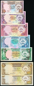 Kuwait Group Lot of 7 Examples Very Fine-Crisp Uncirculated. ... (Total: 7 notes)
