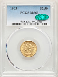 1903 $2 1/2 MS63 PCGS. CAC. PCGS Population: (1716/2617). NGC Census: (1458/2437). CDN: $341 Whsle. Bid for NGC/PCGS MS6...