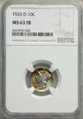 1926-D 10C MS63 Full Bands NGC. NGC Census: (35/138). PCGS Population: (123/318). Mintage 6,828,000. ...(PCGS# 4957)