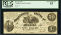 Confederate Notes:1861 Issues, T14 $50 1861 Cr. 75 PCGS Choice About New 55.. ...