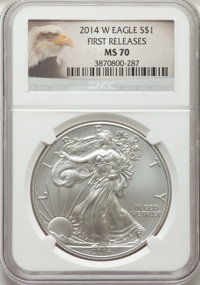 2014-W $1 Silver Eagle, Burnished, First Strike MS70 NGC. NGC Census: (6644). PCGS Population: (2077). 70....(PCGS# 5278...