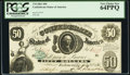 Confederate Notes:1861 Issues, T8 $50 1861 Cr. 18 PCGS Very Choice New 64PPQ.. ...