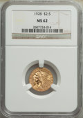 Indian Quarter Eagles: , 1928 $2 1/2 MS62 NGC. NGC Census: (6198/7959). PCG...