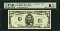 Fr. 1961-B* $5 1950 Wide Federal Reserve Note. PMG Gem Uncirculated 65 EPQ