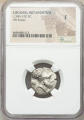Ancients: LUCANIA. Metapontum. Ca. 340-330 BC. AR stater (20mm, 2h). NGC Fine