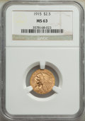 Indian Quarter Eagles: , 1915 $2 1/2 MS63 NGC. NGC Census: (1801/1353). PCG...