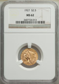 Indian Quarter Eagles: , 1927 $2 1/2 MS62 NGC. NGC Census: (5505/7135). PCG...