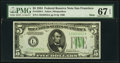 Small Size:Federal Reserve Notes, Fr. 1956-L $5 1934 Mule Federal Reserve Note. PMG Superb Gem Unc 67 EPQ.. ...
