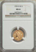 Indian Quarter Eagles: , 1925-D $2 1/2 MS61 NGC. NGC Census: (3267/16425). ...