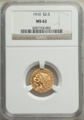 Indian Quarter Eagles: , 1910 $2 1/2 MS62 NGC. NGC Census: (3089/2434). PCG...