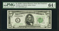 Small Size:Federal Reserve Notes, Fr. 1958-L $5 1934B Federal Reserve Note. PMG Choice Uncirculated 64 EPQ.. ...