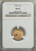 Indian Quarter Eagles: , 1909 $2 1/2 MS62 NGC. NGC Census: (2371/2053). PCG...