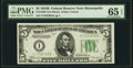 Small Size:Federal Reserve Notes, Fr. 1958-I $5 1934B Federal Reserve Note. PMG Gem Uncirculated 65 EPQ.. ...