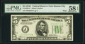 Fr. 1959-J* $5 1934C Wide Federal Reserve Note. PMG Choice About Unc 58 EPQ