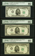 Small Size:Federal Reserve Notes, Sextet of $5 Series 1950B Federal Reserve Notes PMG Graded.. ... (Total: 6 notes)