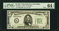 Small Size:Federal Reserve Notes, Fr. 1956-K* $5 1934 Mule Federal Reserve Note. PMG Choice Uncirculated 64 EPQ.. ...