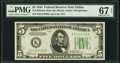 Small Size:Federal Reserve Notes, Fr. 1956-K $5 1934 Mule Federal Reserve Note. PMG Superb Gem Unc 67 EPQ.. ...