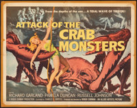 """Attack of the Crab Monsters (Allied Artists, 1957). Folded, Very Good. Half Sheet (22"""" X 28""""). Albert Kallis A..."""