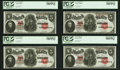 Large Size:Legal Tender Notes, Fr. 91 $5 1907 Legal Tender PCGS Choice About New 58PPQ. Cut Sheet of Four.. ... (Total: 4 notes)