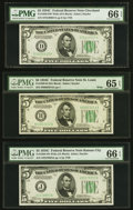 Small Size:Federal Reserve Notes, Fr. 1959-D $5 1934C Wide Federal Reserve Note. PMG Gem Uncirculated 66 EPQ;. Fr. 1959-H $5 1934C Wide Federal Reserve Note... (Total: 3 notes)