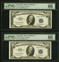 Small Size:Silver Certificates, Fr. 1707 $10 1953A Silver Certificates. Two Consecutive Examples. PMG Gem Uncirculated 66 EPQ.. ... (Total: 2 notes)