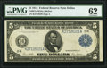 Large Size:Federal Reserve Notes, Fr. 887a $5 1914 Federal Reserve Note PMG Uncirculated 62.. ...