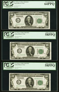 Small Size:Federal Reserve Notes, Fr. 2151-G $100 1928A Federal Reserve Notes. Cut Half Sheet of Six. PCGS Graded.. ... (Total: 6 notes)