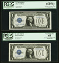 Small Size:Silver Certificates, Changeover Pair Fr. 1602/1604 $1 1928B/1928D Silver Certificates. PCGS Graded Gem New 65PPQ; Very Choice New 64.. ... (Total: 2 notes)