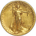 High Relief Double Eagles, 1907 $20 High Relief, Wire Rim -- Cleaned -- PCGS Genuine. AU Details....