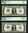 Large Size:Silver Certificates, Fr. 238/Fr. 237 $1 1923 Silver Certificate Reverse Changeover Pair PCGS Gem New 65PPQ and Choice New 63.. ... (Total: 2 notes)