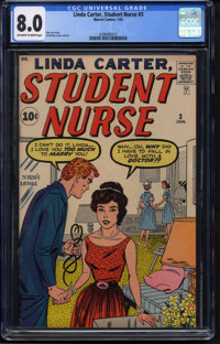 Linda Carter, Student Nurse #3 (Atlas, 1962) CGC VF 8.0 Off-white to white pages