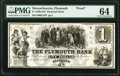 Obsoletes By State:Massachusetts, Plymouth, MA- Plymouth Bank $1 18__ as G42 Proof PMG Choice Uncirculated 64.. ...
