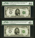 Small Size:Federal Reserve Notes, Fr. 1952-J $5 1928B Federal Reserve Note. PMG Choice Uncirculated 64 EPQ;. Fr. 1952-L $5 1928B Federal Reserve Note. PMG G... (Total: 2 notes)