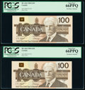Canada Bank of Canada $100 1988 Pick 99d BC-60d Two Consecutive Examples PCGS Gem New 66PPQ. ... (Total: 2)