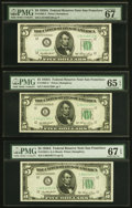 Small Size:Federal Reserve Notes, Fr. 1962-L $5 1950A Federal Reserve Notes. Two Examples. PMG Superb Gem Unc 67 EPQ;. Fr. 1962-L* $5 1950A Federal Reserve ... (Total: 3 notes)