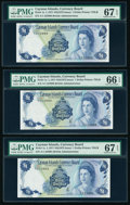 Cayman Islands Currency Board 1 Dollar 1971 (ND 1972) Pick 1a Three Consecutive Examples PMG Superb Gem Unc 67 EPQ (2);...