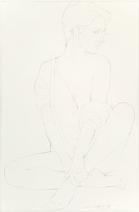 Patrick Nagel (American, 1945-1984) Her Casual Poste, 1983 Pencil on board 30-1/8 x 19-3/4 inches