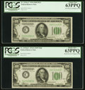 Fr. 2152-C/Fr. 2153-C $100 1934/1934A Mule Federal Reserve Note. Changeover Pair. PCGS Choice New 63PPQ. ... (Total: 2 n...