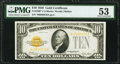 Small Size:Gold Certificates, Fr. 2400* $10 1928 Gold Certificate. PMG About Uncirculated 53.. ...
